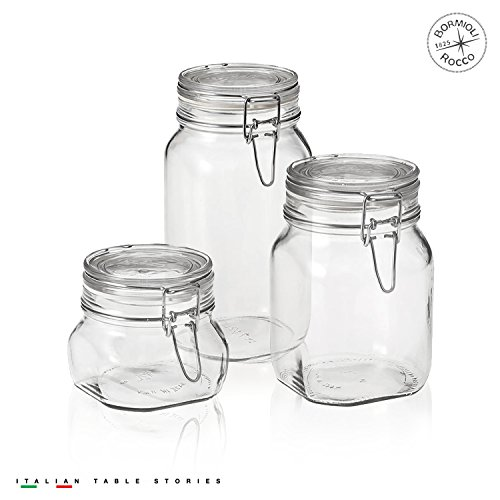 (Bormioli Rocco Fido Canning Jar, Set of 3 (17.5 oz,33.75 oz,50.75)
