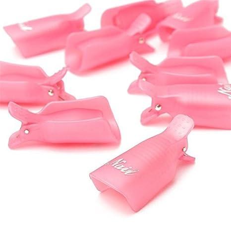 Malloom® 10 piezas arte de uñas de plástico empapa clip de cap Pulimento del gel UV removedor herramienta de abrigo Rosa Fuerte: Amazon.es: Bebé