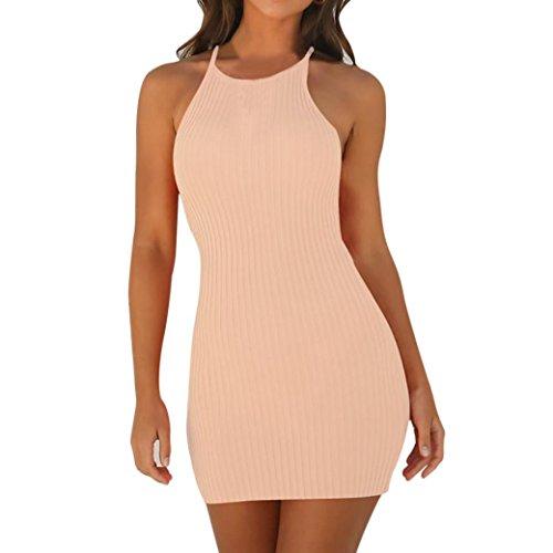 Tloowy Mini Dress, Women Sexy Halter Neck Sleeveless Short Bodycon Dress Summer Party Club Dress Solid Color (Beige, L)