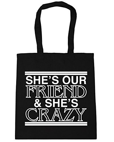 Shes Our Friend And Shes Crazy Tote Shopping /& Gym /& Beach Bag 42cm X 38cm with Handles By Valentine Herty