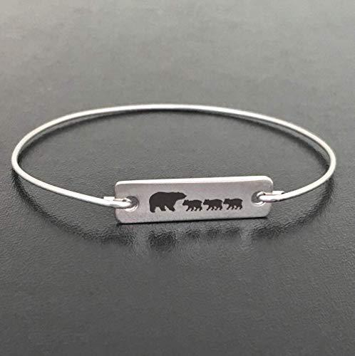 Amazon Mama Bear Bracelet With 3 Cubs Mom Birthday Gift Mother Baby Shower Jewelry Bangle Avg Size Woman Handmade