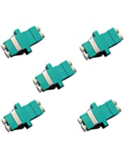 Fiber Optic Cable Adapter/Coupler LC-LC Duplex Aqua/OM3/OM4 5 Pack