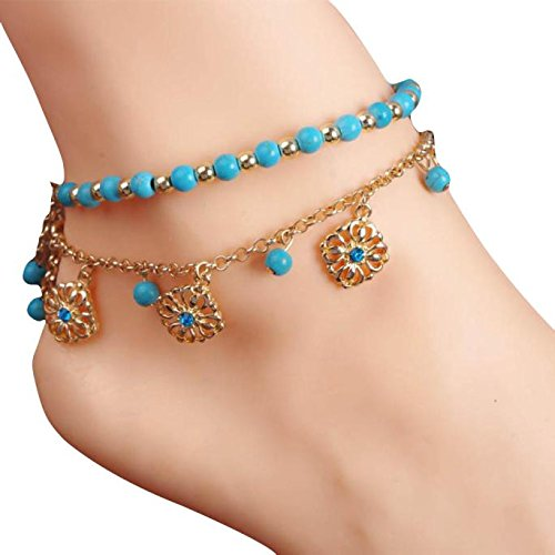 Lookatool Women Bohemian Beach Turquoise Barefoot Sandal Foot Jewelry Anklet Chain from Lookatool