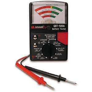 Gardner Bender GBT-500A Analog Battery Tester for 1.5 V Button Cell / 22.5 Photo / AA / AAA / 12 V / 9 V / Lantern Cells & More, Leads