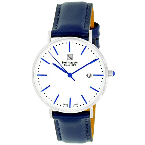 - Steinhausen Women's S0620 Classic Burgdorf Swiss Quartz Blue Label Stainless Steel Watch with Blue Leather Band