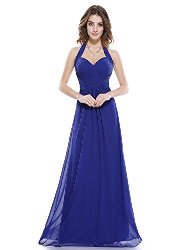 Ever-Pretty Juniors Chiffon Party Dress Sapphire Blue V Neck Open Back Long Party Dresses 16 US (Sapphire Evening Gown)