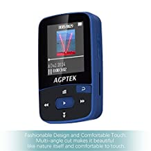 AGPTEK A50 8GB Clip Bluetooth MP3 Player with 1.5-inch TFT Display, Support up to 64GB, Dark Blue