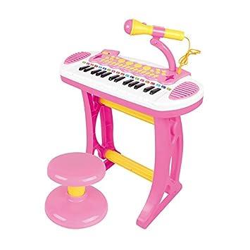 6a67f6ec38d5f Baoli ピアノおもちゃ P-31 マイクといす付きキーボード (ピンクセット)