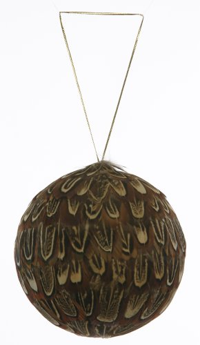 Christmas Feather Ornaments (Almond Pheasant Feather Christmas Ornament - 4