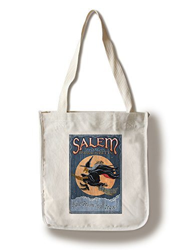 Salem, Massachusetts - Witch Vintage Sign (100% Cotton Tote Bag - - Massachusetts Shopping Salem