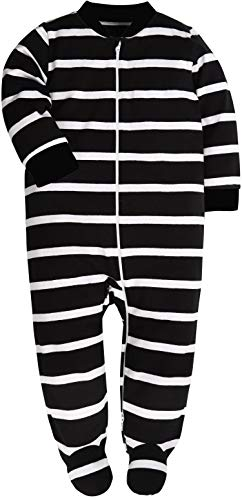 (Both Meet Yuan Baby Cotton Cartoon Pajamas Front Zip Baby Girls and Boys Long Sleeve Romper (Black and White, 0-3 Months))