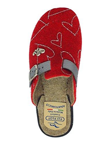 Pantoufles Fly Flot Pour Femme En Laine Rouge Avec Ajustement (taille 36)