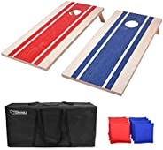 GoSports 4'x2' Wood Design Cornhole Game Set - Includes Two 4'x2' Boards, 8 Bean Bags, and Car