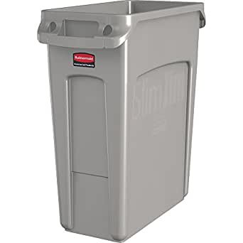 Rubbermaid Commercial Products Slim Jim Trash Can Waste Receptacle with Venting Channels, 16 Gallons, Beige (1971259)