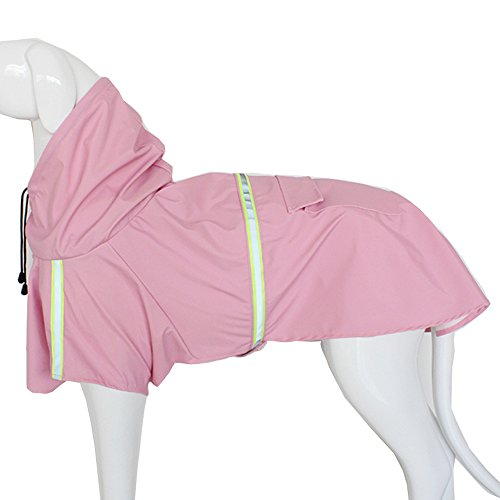 Dog Raincoat Leisure Waterproof Lightweight Dog Coat Jacket Reflective Rain Jacket with Hood for Small Medium Large Dogs(Pink,XL)