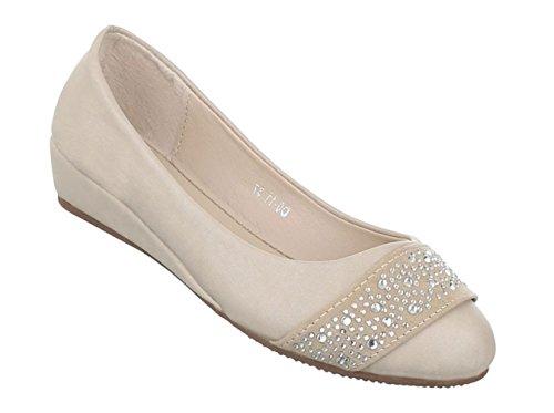Damen Pumps Schuhe High-Heels Mules Pantoletten Sandaletten Strass Besetzte Ballerinas Schwarz Beige 36 37 38 39 40 41 Beige