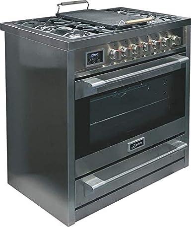 Kaiser HGE 93505 R - Cocina eléctrica de gas, 90 cm, Range Cooker, 115 L, cocina con placa de gas, horno WOK, horno eléctrico, 8 funciones, ...