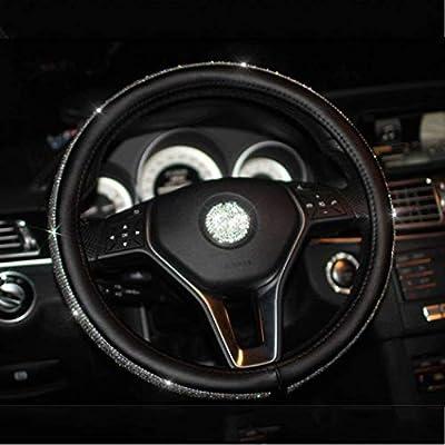 Daydayholiday Cystal Steering Wheel Cover Bling Bling Rhinestones Diamond Steering Wheel Cover for Women Girl 15 inch,Black: Automotive