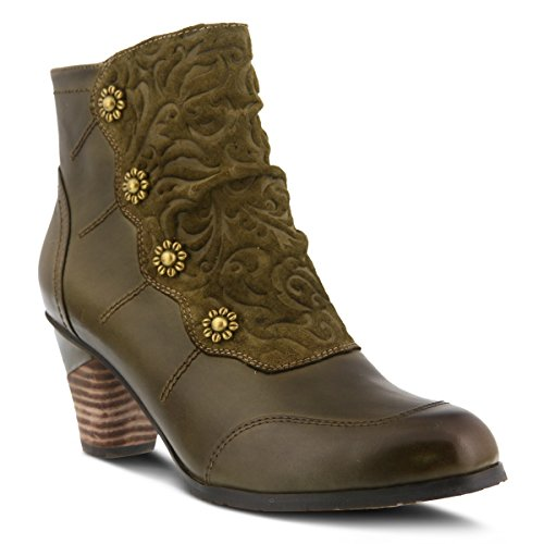 L'Artiste by Spring Step Women's Belgard Ankle Bootie, Olive Green, 38 EU/7.5-8 M US (Spring Step Olive)