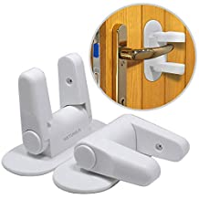 WETONG Child Safety Locks (2 Pack) Door Lever Lock 3M Adhesive Baby Proofing Door Handle Locks Cabinet Latches for Toddlers Pets