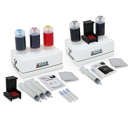 INKUTEN (TM) Refill Kit Combo Pack for HP 62 62XL Black and HP 62 62XL Color Inkjet Cartridges