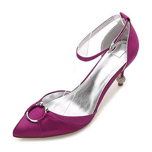 Toe Zxstz violet Fermer Classiques De Femmes sur De Slip Pompe Talons Prom De Mariée De Chaussures d'honneur Mariée Soirée Satin Demoiselle 1agqw1S