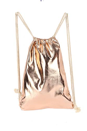Drawstring Backpack for Men Women Teens, Waterproof Metallic PU Leather Sport Gym Sack Bag, Champane