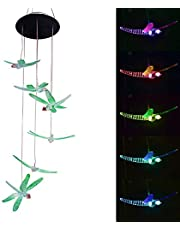 Led Solar Lights Outdoor Garden, Wind Chime Solar Light, Waterproof Colour Changing Hanging Lamp Night Lights (Dragonfly Shape)