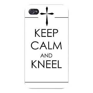 Apple Iphone Custom Case 5 5s Snap on - Keep Calm and Kneel Christian Cross Inspiration