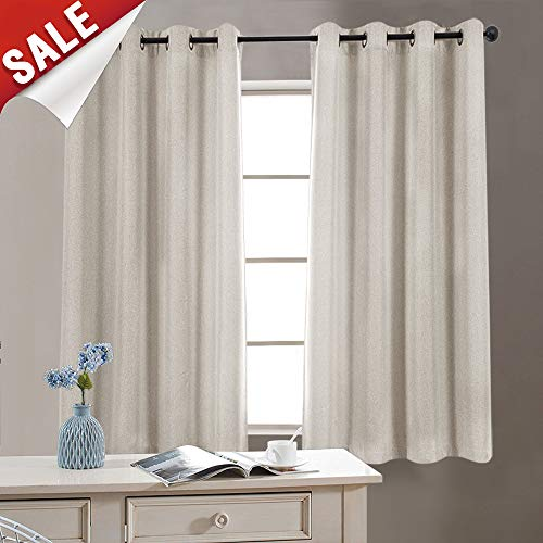 Thermal Insulated Faux Linen Room Darkening Curtains for Bedroom 63 inch Long Living Room Linen Textured Curtain (Greyish Beige, One ()