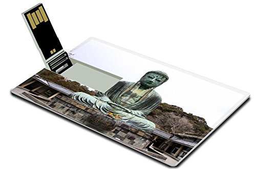 Luxlady 32GB USB Flash Drive 2.0 Memory Stick Credit Card Size IMAGE ID: 23145250 Front view of Daibutsu giant statue in sitting position at Kamakura of Japan (Daibutsu Statue)