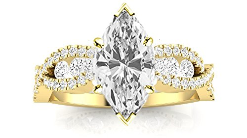 Chandni Jewels 1.6 Cttw 14K Yellow Gold Marquise Cut Desi...
