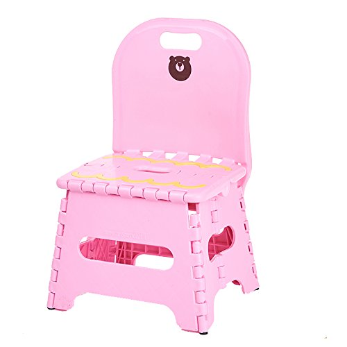 ZDZDZ Cute Travel Portable Non Slip Folding Step Stool with Backrest For Kids & Adults, Kitchen Garden Bathroom Heavy Duty Outdoor Foldable Stool, Holds up to 250 LBS (pink) by ZDZDZ