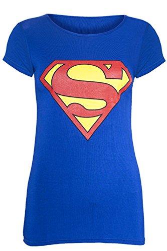 Neu Damen Ärmelloses Muskel Racerback Dehnbar Damen Comic Superheld Hero Mädchen Superman Batman Weste T T-shirt Tank Top - Superman Flügelärmel T-shirt Blau - Angepasst, Damen, 40/42