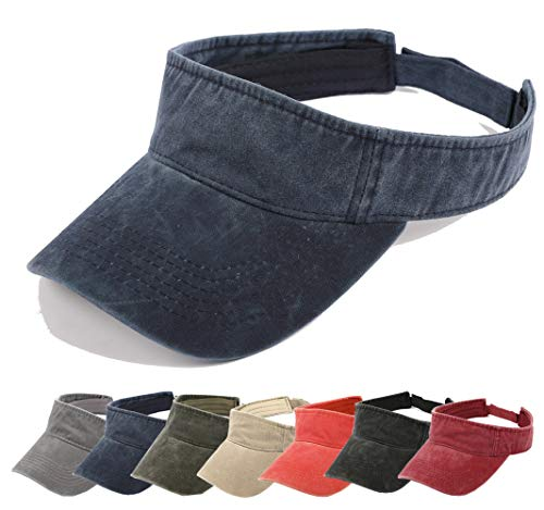 Aedvoouer Men Women Baseball Cap Vintage Cotton Washed Distressed Hats Twill Plain Adjustable Dad-Hat (T-Navy Blue Sun hat)