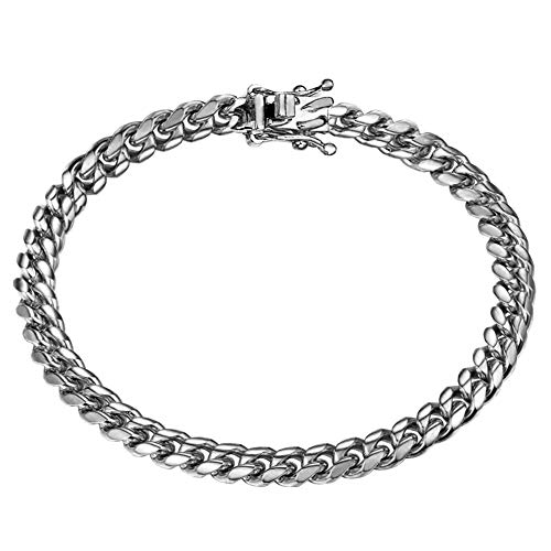 Jewelry Kingdom 1 Mens Bracelets Sterling Silver Chain Miami Cuban Link Chain for Men's Jewelry, Bracelets for Women, 316L Stainless Steel(9inches Length and 6MM Width]()