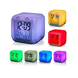 UnTech Square Color Changing Digital LCD Alarm Table Desk Clock with Calender Time Temperature Lights