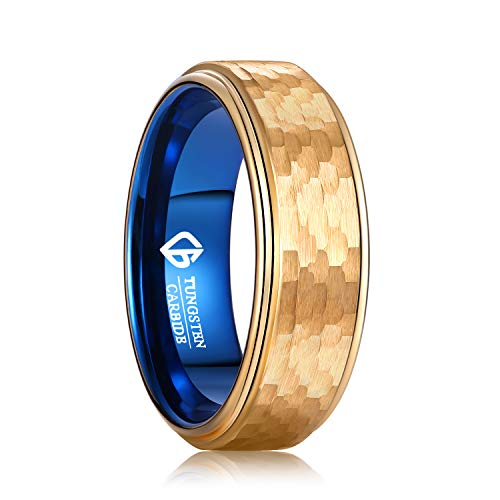 LOVE Beauties 8MM Tungsten Titanium Rings Mens Wedding Band Double Color Wedding Ring Engagement Band Ring Gold-Like Yellow Tungsten Titanium Band (11)