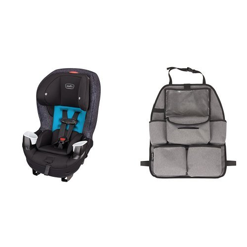 Evenflo Stratos 65 Convertible Car Seat, Glacier with Deluxe Car Backseat Organizer, Grey Melange ()