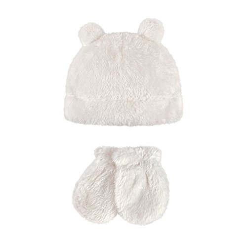 Hudson Baby Baby Cozy Sherpa Hat and Mitten Set, Bear Ears, 0-6 Months