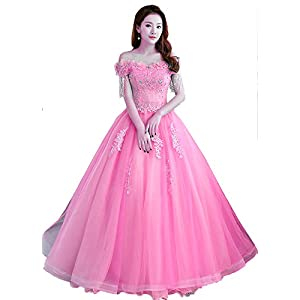 f446559754b Okaybrial Women s 15 Dresses Quinceanera Dresses Off Shoulder Tulle  Appliques Black Evening Gown