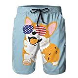 Corgi American Flag Patriotic Sunglasses Swim Trunks - Mens & Boys Swim Shorts, Quick Dry Board Shorts with Pockets