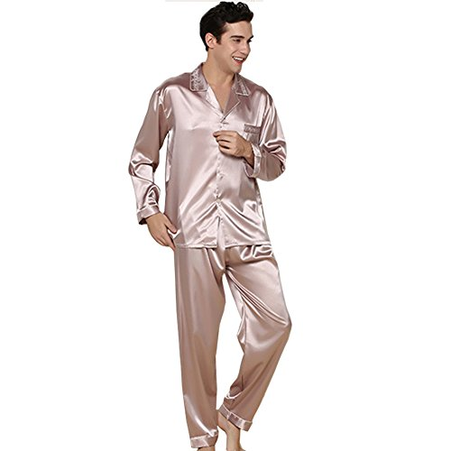 ZUEVI Men's Gold Color Classic Satin Couples Pajamas(Gray-L) by ZUEVI