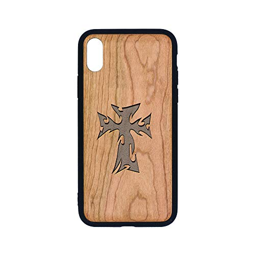 Tribal Flaming Cross - iPhone Xs CASE - Cherry Premium Slim & Lightweight Traveler Wooden Protective Phone CASE - Unique, Stylish & ECO-Friendly - Designed for iPhone Xs ()