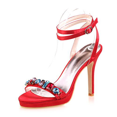 Qingchunhuangtang@ Bouche de poisson high-heeled sandals Ball party Fashion model catwalk mariage chaussures travail quotidien Le rouge