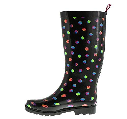 Capelli New York Damer Prickar Tryckta Lång Gummi Regn Boot Black Combo