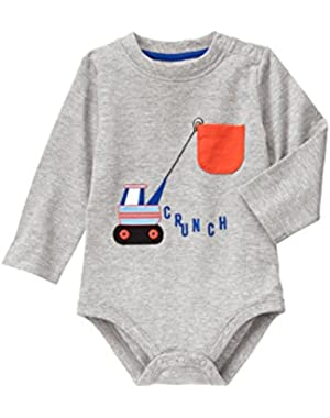 Baby Grey Construction Truck Bodysuit