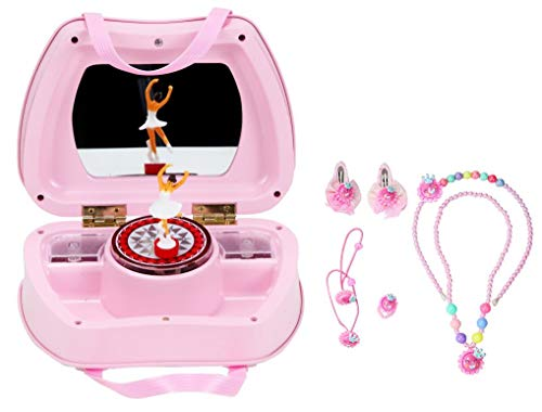 WODISON Handle Design Ballerina Musical Jewelry Storage Box Set with Accessory Little Girls ()