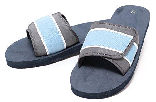 Herren Freizeit Pantolette Beach Sandale flexibler Klettverschluss Gr. 43