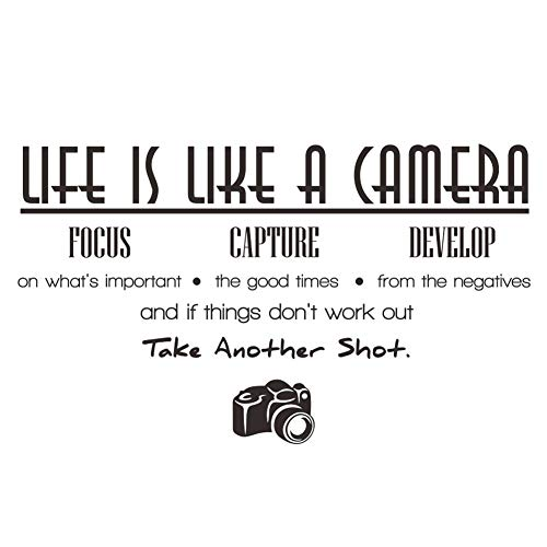 ElecMotive Life is Like a Camera Focus Capture Develop and Take Another Shot Vinyl Wall Decals Quotes Sayings Words Art Decor Lettering Vinyl Wall Art Inspirational Uplifting (2.3' x 1.2')